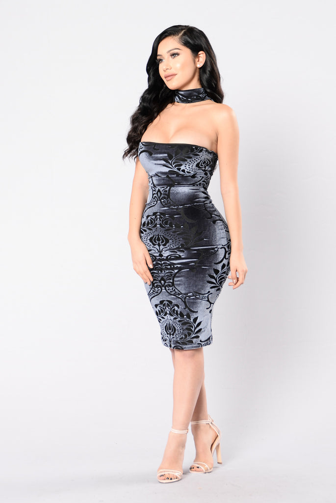 Pour Me A Glass Dress - Charcoal Grey