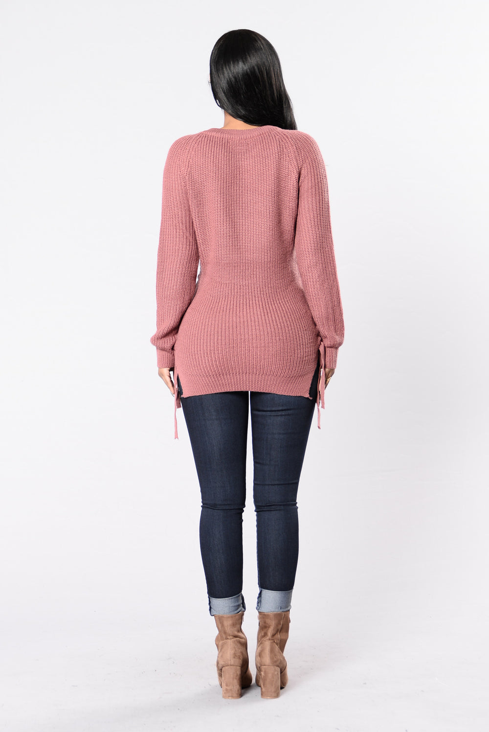 Braided Sweater - Red Bean