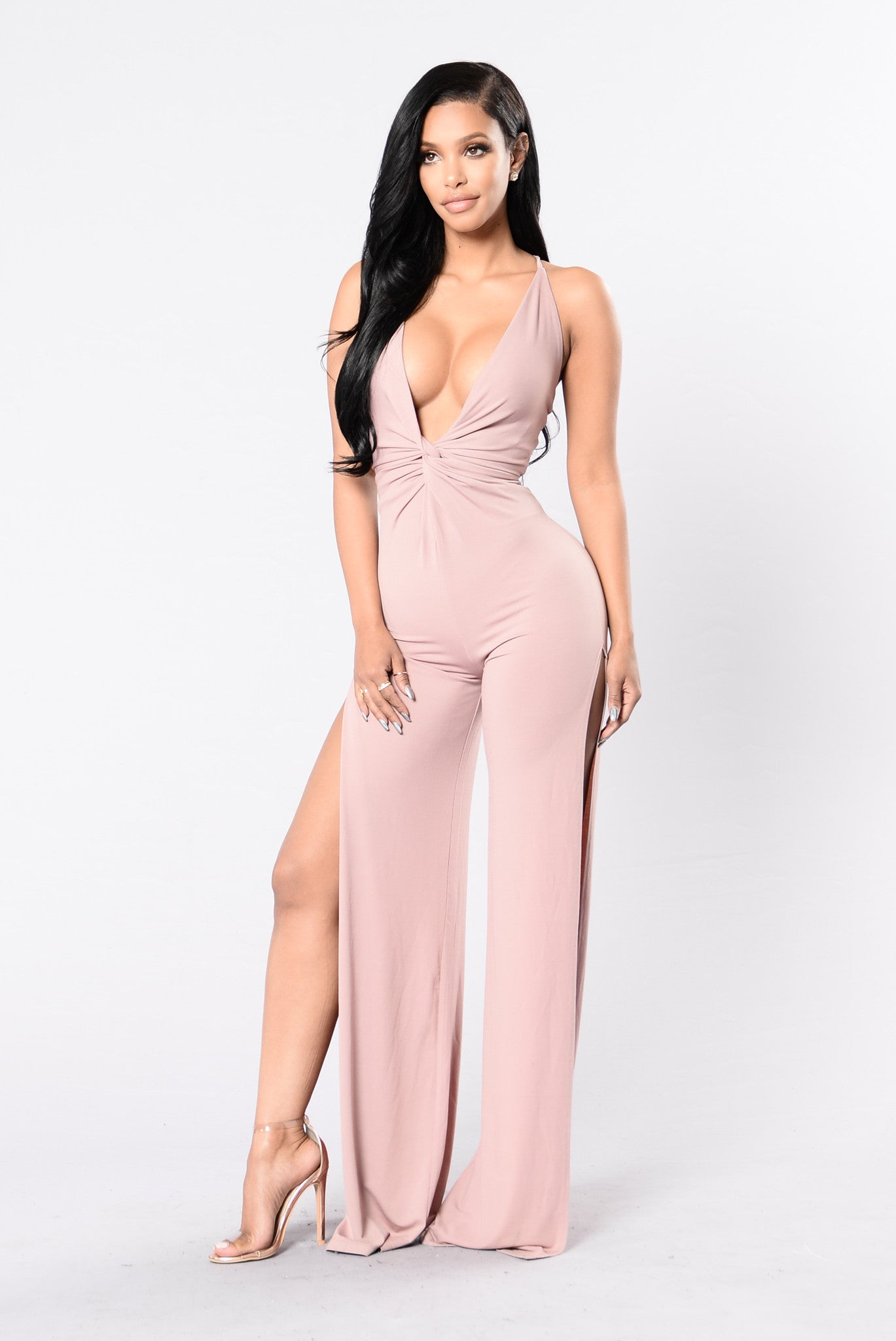 How Lucky You Are Jumpsuit   Mauve