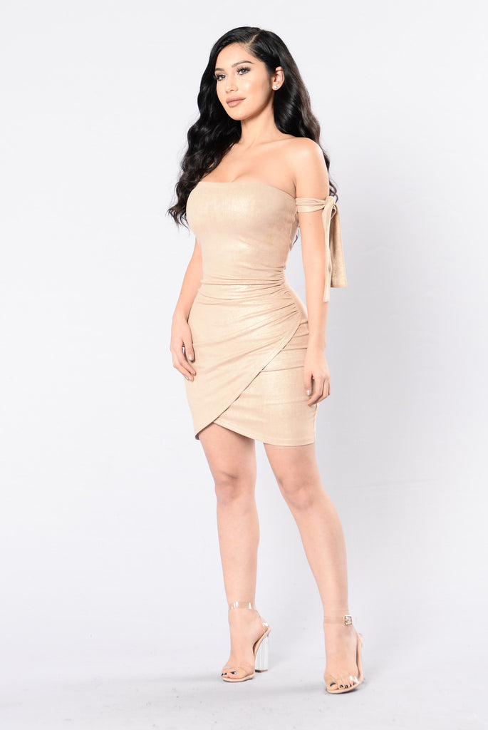 Too Much Temptation Dress - Gold