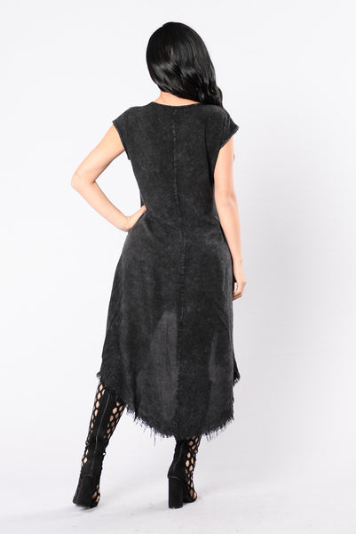 Moonlight Cocktail Dress - Charcoal