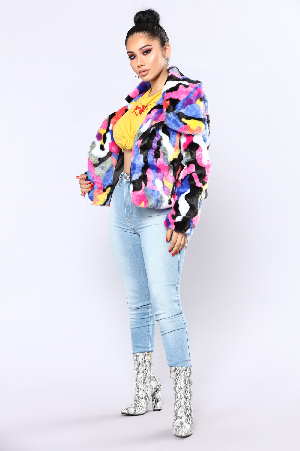 Life Of The Party Faux Fur Jacket - Multi