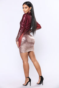 Dimmed With Smoke Mini Dress - Wine/Gold