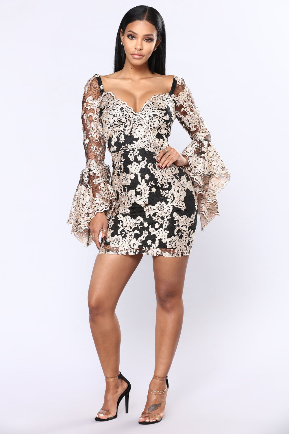Christelle Embroidered Dress - Black/Taupe