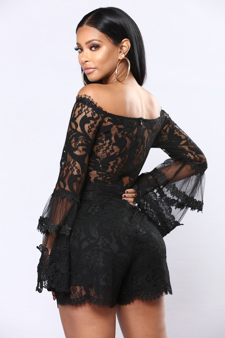 Romance Novel Lace Romper - Black