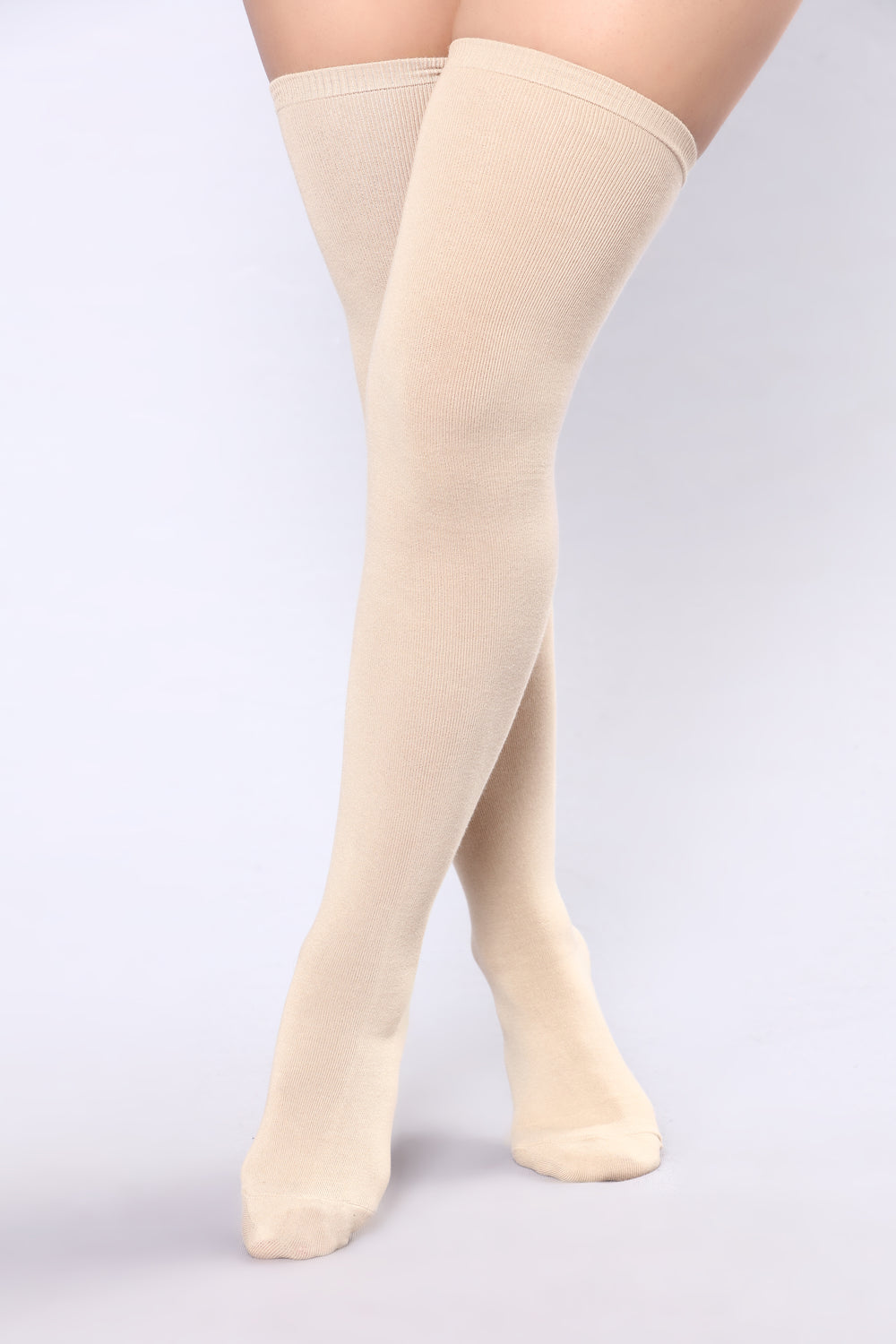 Say Bye Over The Knee Socks - Beige