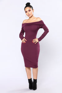 Chanelle Off Shoulder Dress - Eggplant