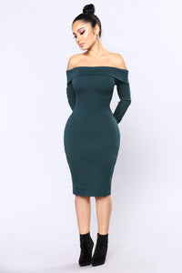 Chanelle Off Shoulder Dress - Hunter