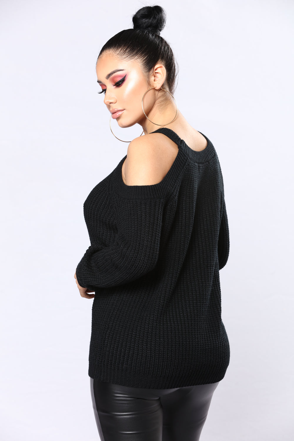 Doreen Cold Shoulder Sweater - Black