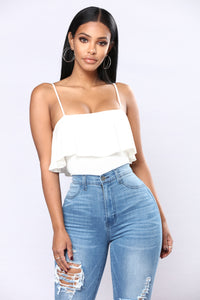 Cindy Ruffle Top - White