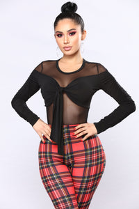 Just Mesh With Him Bodysuit - Black