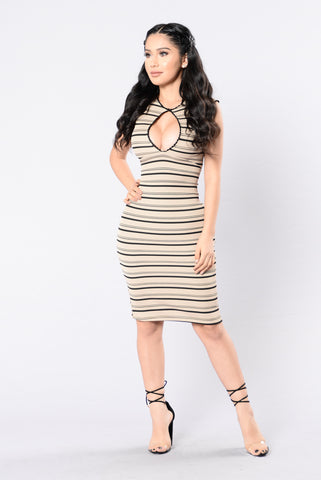 Stripe Sensation Dress - Nude/Black