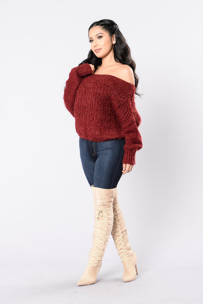 Sweet Like Coco Sweater - Burgundy