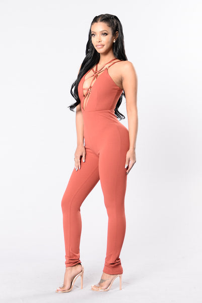 Party Crasher Jumpsuit - Marsala