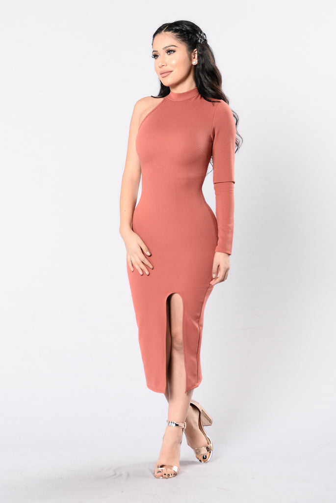 Let's Make It Happen Dress - Marsala