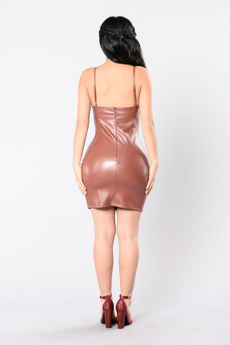 Keep It Right And Tight Dress - Red/Brown