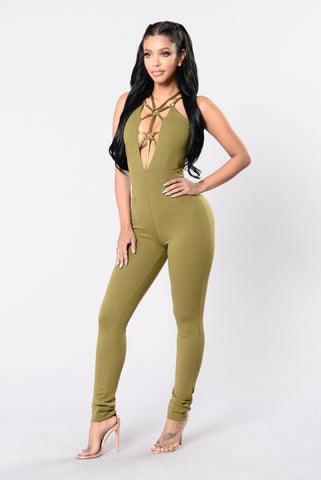 Party Crasher Jumpsuit - Army Green