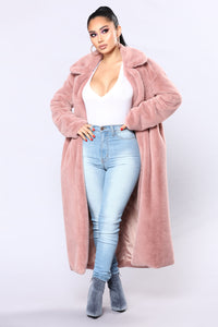 Chibi Fur Jacket - Dusty Rose Angle 1