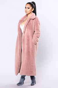 Chibi Fur Jacket - Dusty Rose Angle 2