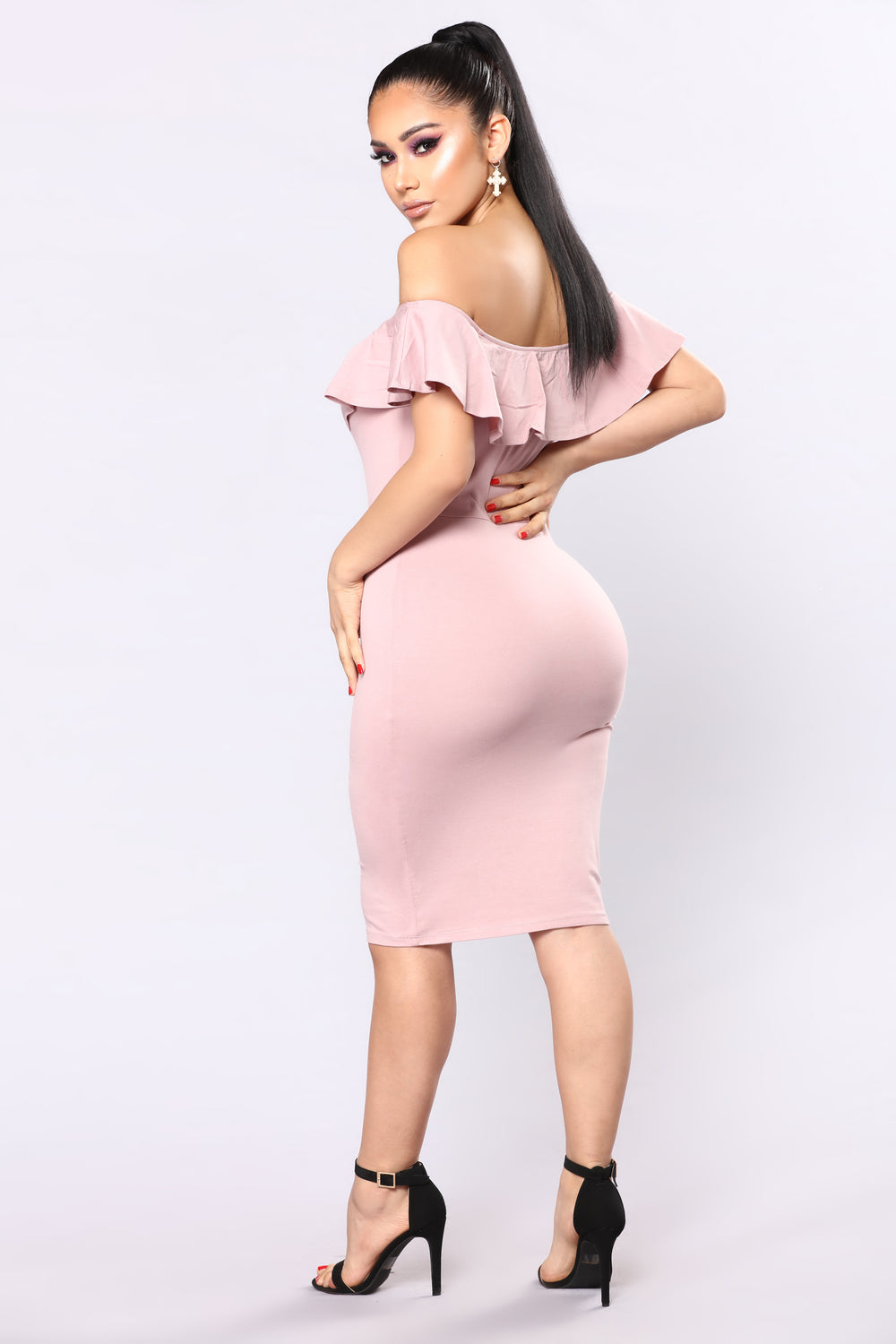 Berenice Flounce Dress - Mauve