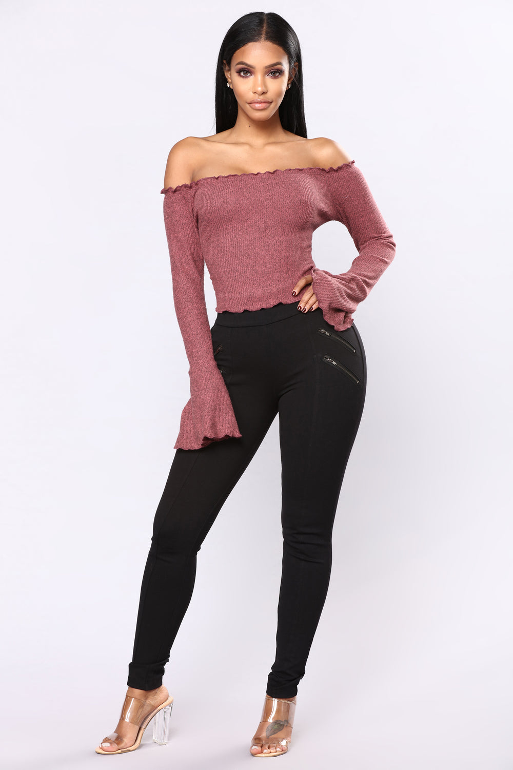 A Whole Lot Off Shoulder Top - Mauve