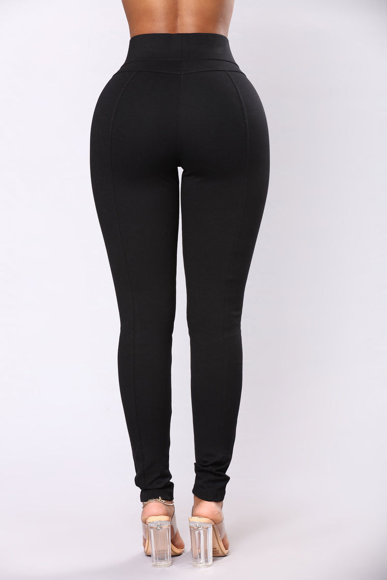 Zarah Zipper Ponte Leggings - Black
