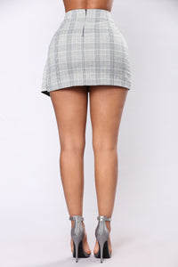 Wrap Throwback Skirt - Grey/Blue