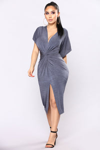 Full Grown Knot Dress - Gunmetal