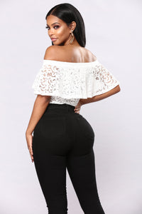 Shira Lace Off Shoulder Bodysuit - Off White