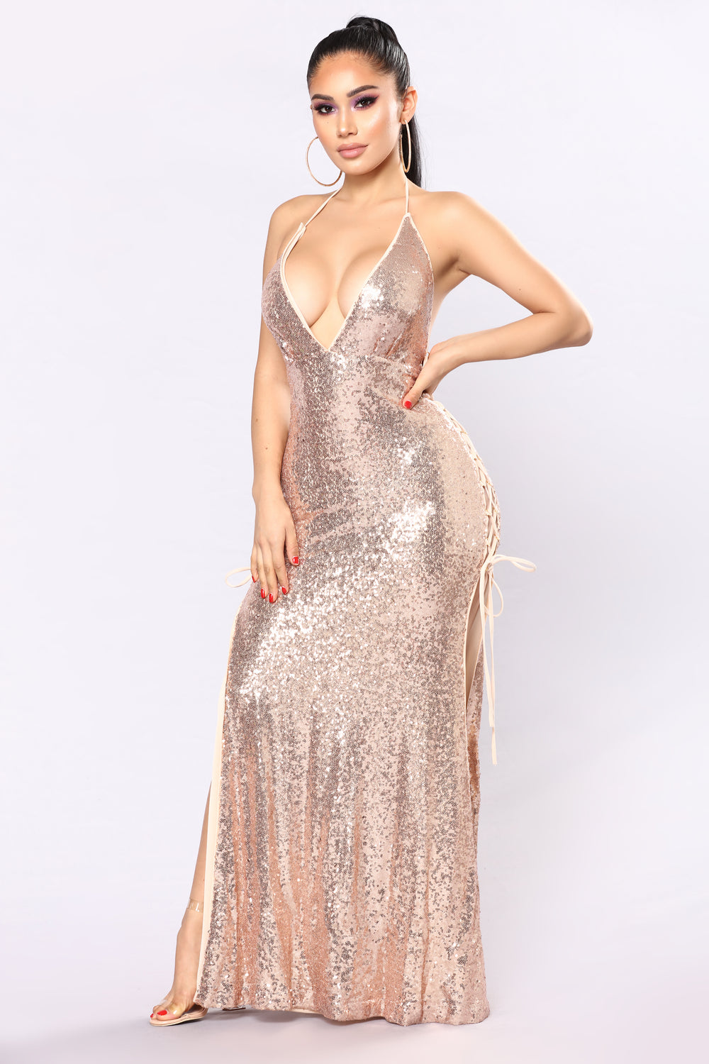 Talin Sequin Dress - Rose Gold