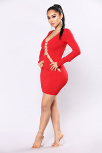 Rhinestone Ruler Mini Dress - Red