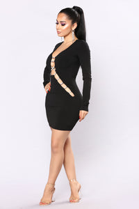 Rhinestone Ruler Mini Dress - Black