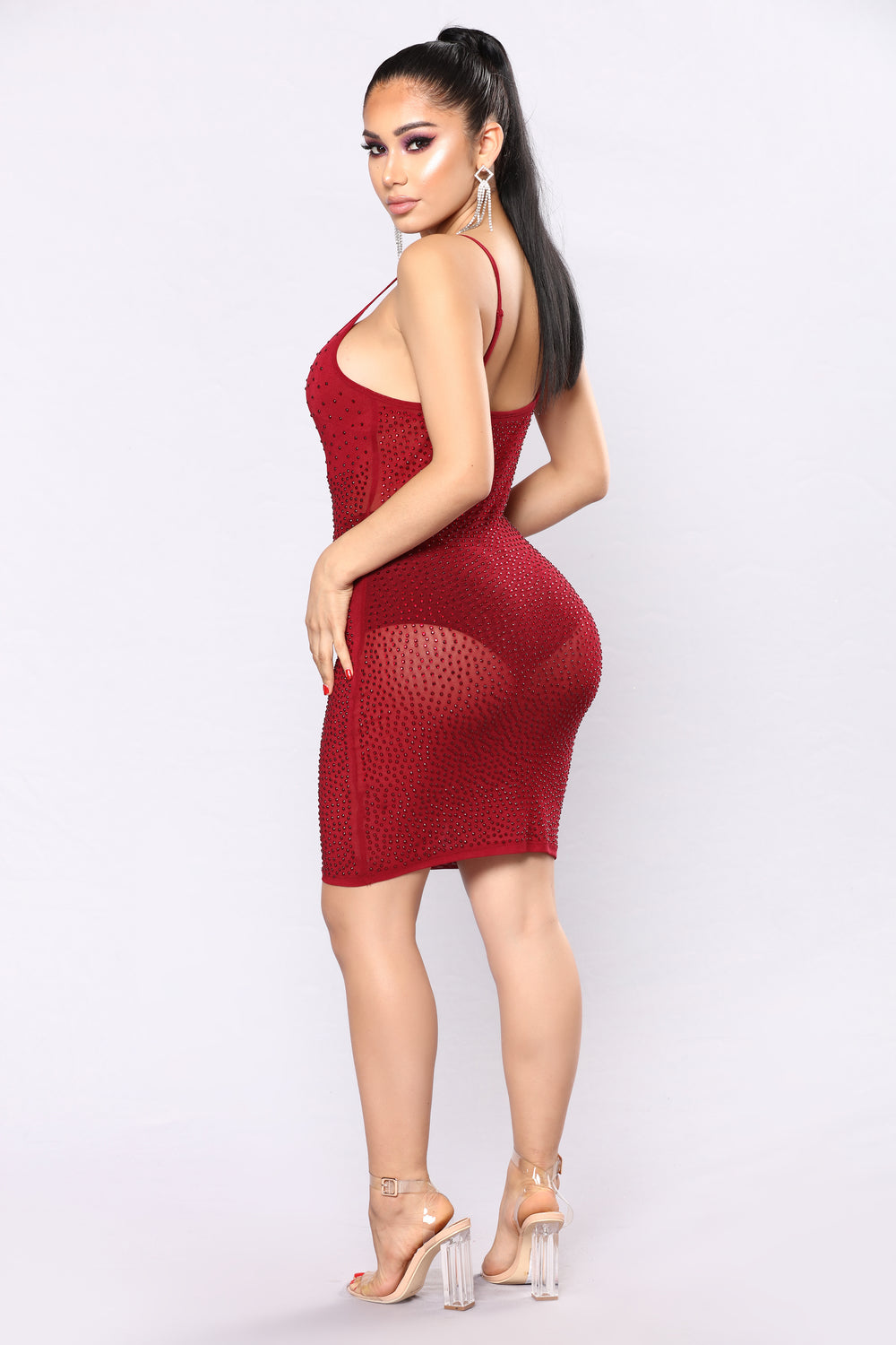 Have A Drink Rhinestone Dress - Burgundy
