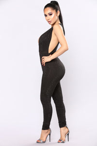 Break Of Dawn Rhinestone Jumpsuit - Black