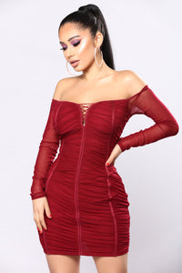 Laura Mesh Dress - Wine