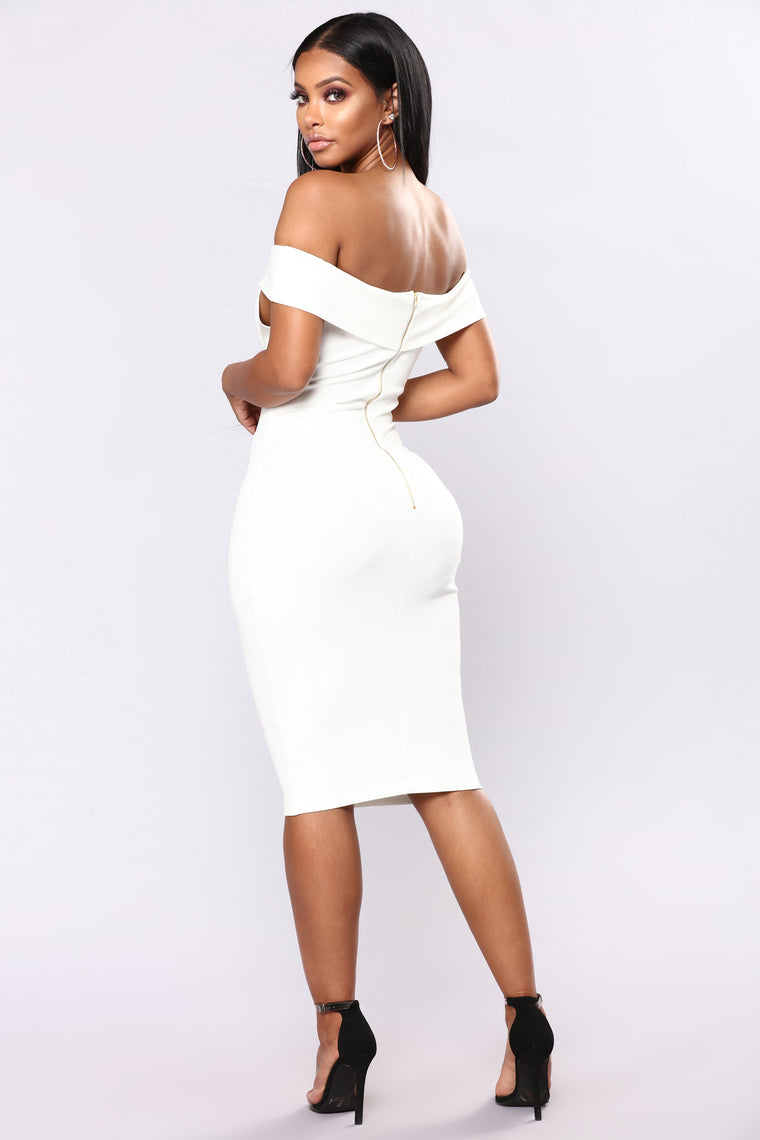 Chantal Off Shoulder Dress - White