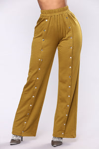Emily Front Snap Button Pants - Olive Angle 1