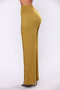 Emily Front Snap Button Pants - Olive Angle 3
