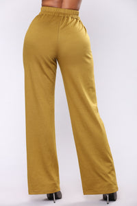 Emily Front Snap Button Pants - Olive Angle 4