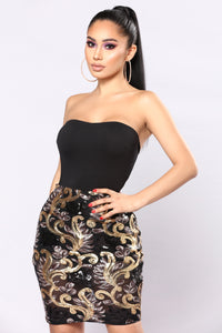 Sparkle In Your Eyes Sequin Dress - Black/Mocha