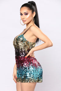 Going With The Flow Sequin Romper - Rainbow