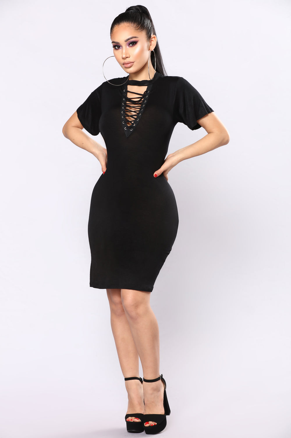 Strung Along Lace Up Tunic - Black
