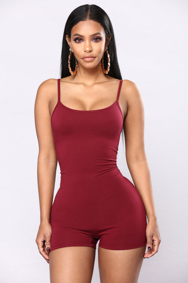 Never Give Up Romper - Burgundy
