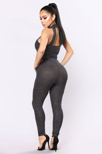 Countdown Glitter Jumpsuit - Black Multi