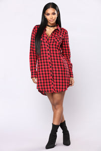 Small Town Boy Plaid Tunic - Red/Black