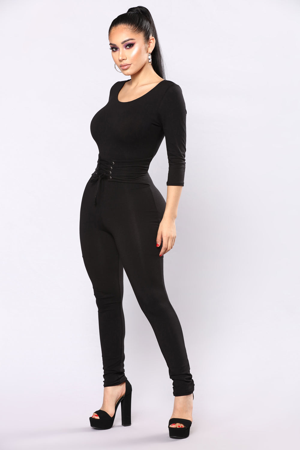 On The Bleachers Corset Jumpsuit - Black