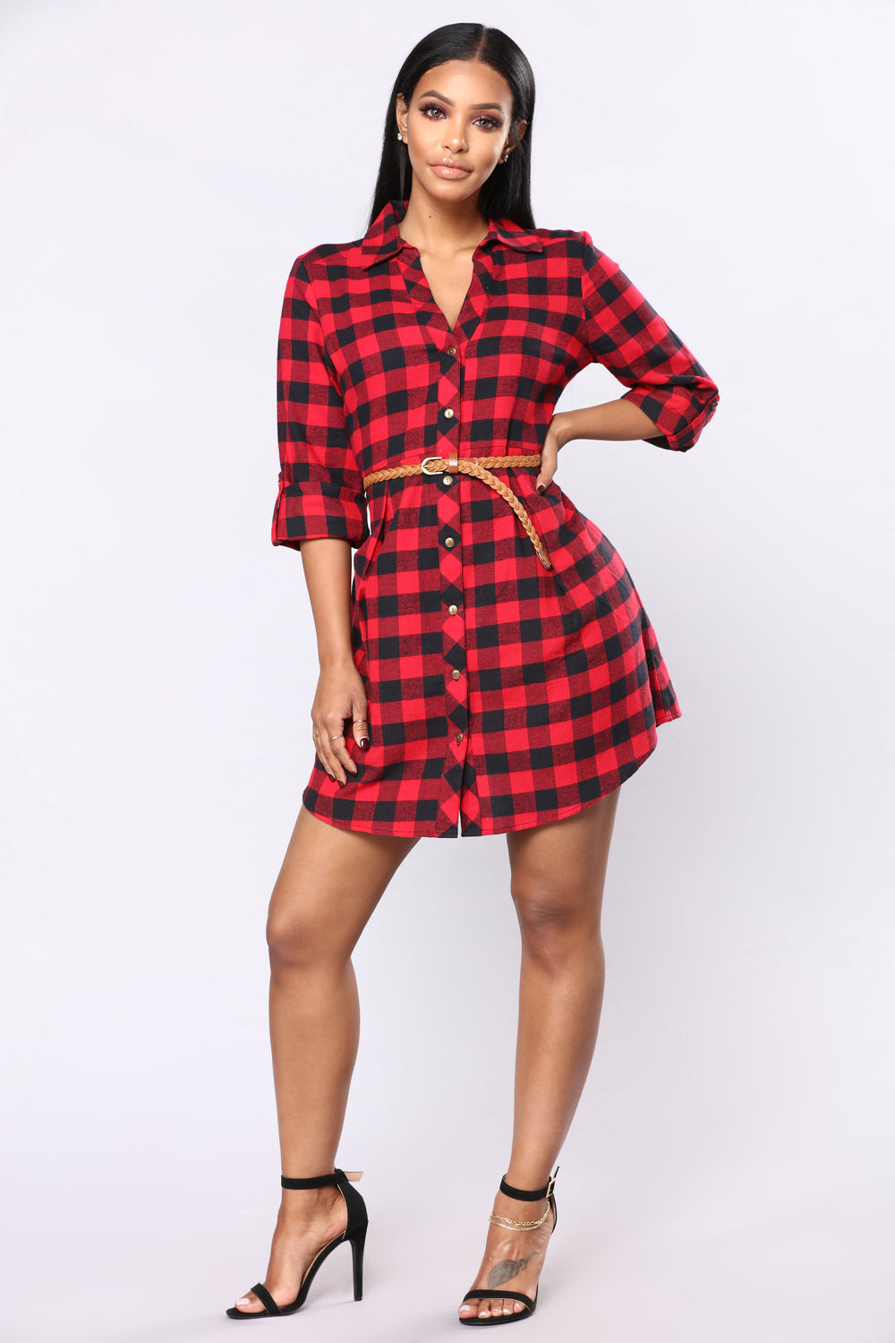 Small Town Visit Gingham Tunic - Red/Black