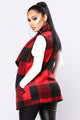 Cabin Fever Plaid Vest - Black/Red