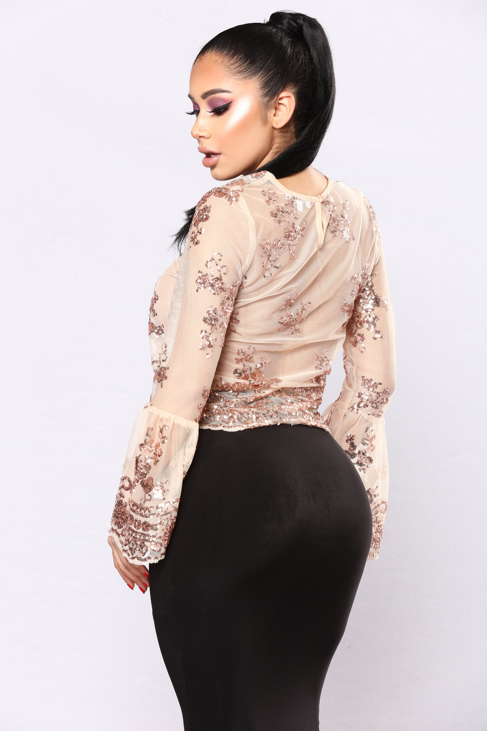 Suzanne Sequin Top - Rose Gold