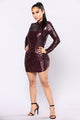 Expose Sequin Dress - Burgundy